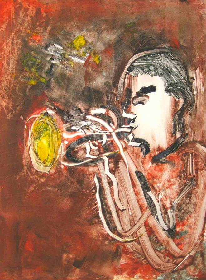 Jazz great Chris Botti a monotype print by Arthur Secunda