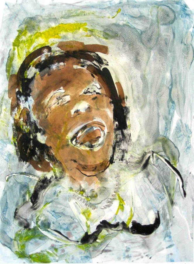 Jazz great Gertrude 'Ma' Rainey a monotype print by Arthur Secunda