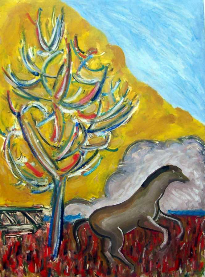 Charging Stallion with Burning Bush an acrylic painting on paper by Arthur Secunda