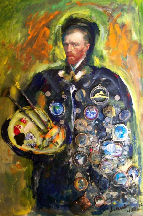 General Van Gogh Acrylic a mixed media with objects on wood by Arthur Secunda