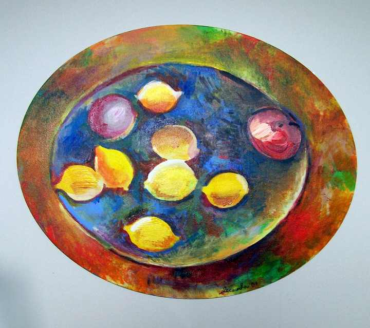 Lemons in an Oval Basket an acrylic painting by Arthur Secunda