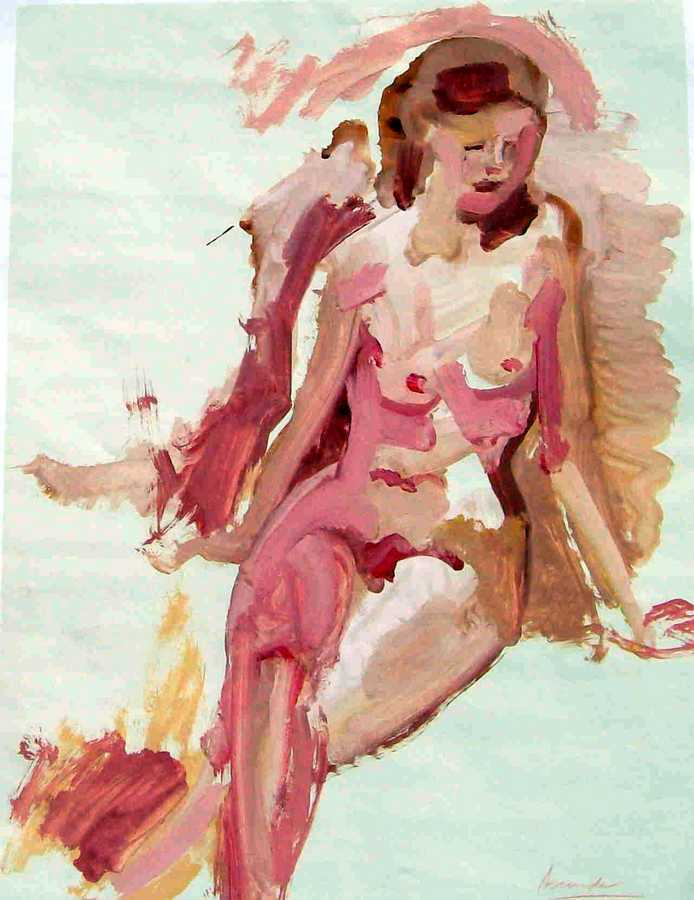 Pinky, the French Model an acrylic painting on paper by Arthur Secunda