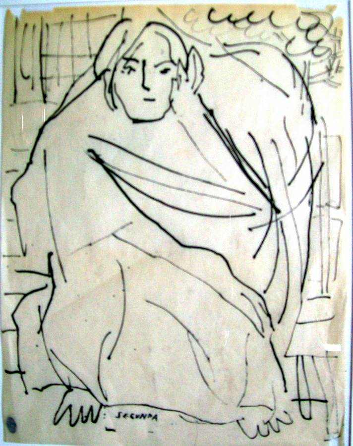 Senora con Reboza Basket an Indian ink drawing by Arthur Secunda