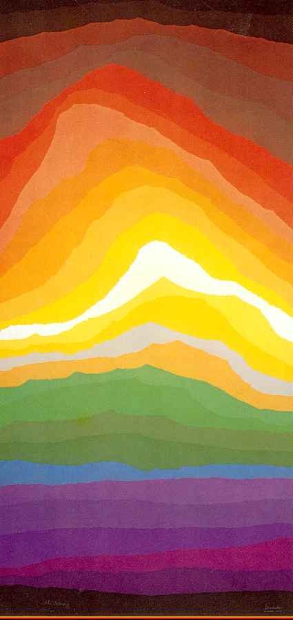 Volcano a large multi-color serigraph by Arthur Secunda fine artist