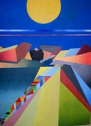 Anasazi Moonlight an Acrylic Painting by Arthur Secunda