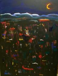 Boulder Hillside at Night acrylic on canvas by Arthur Secunda
