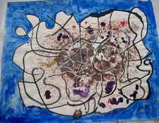 Brain a mixed-media colored ink and acrylic by Arthur Secunda