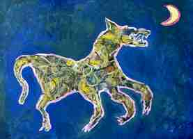 Dancing Wolf Growling  a monotype print by Arthur Secunda