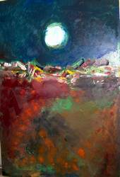 White Moon an oil/acrylic on canvas by Arthur Secunda